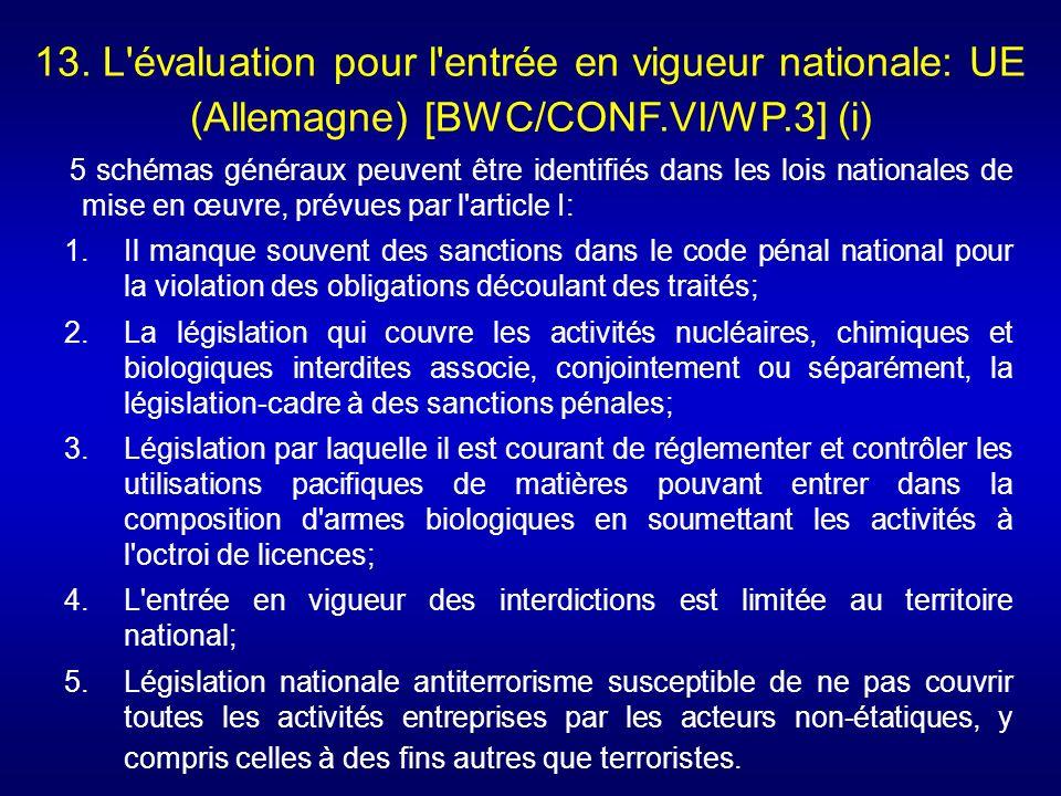 13. L évaluation pour l entrée en vigueur nationale: UE (Allemagne) [BWC/CONF.VI/WP.3] (i)